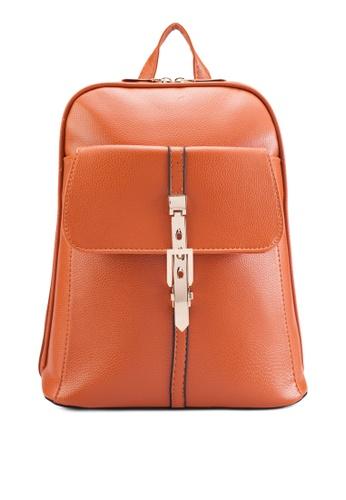 Bagstationz 褐色 Bagstationz Pebbled Texture Backpack With Metal Lock BA607AC06KIJMY_1
