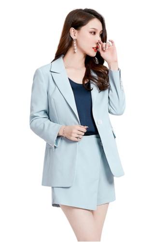 LYCKA blue LCC8050 Korean Style Autumn-Winter Lady High Waist Irregular Hem Skirt Shorts-Blue FE052AA71EEB8EGS_1