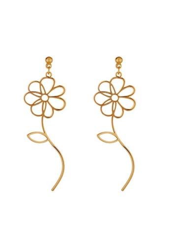 Glamorbit gold Rose Dangling Statement Earrings 6FB97ACB638D62GS_1