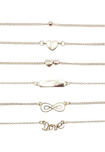 LUCCACAL gold 6 x Love Charm Bracelet Set LU294AC0SM1CMY_1