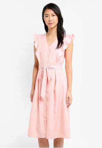 ZALORA pink Button Front Midi Dress 2132CAAA0E7DF7GS_1