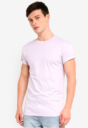 Topman 紫色 修身反摺袖T恤 A333FAAEB0474DGS_1