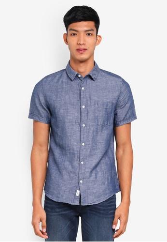 Burton Menswear London navy Indigo Short Sleeve Linen Shirt 9450BAA058F6F5GS_1