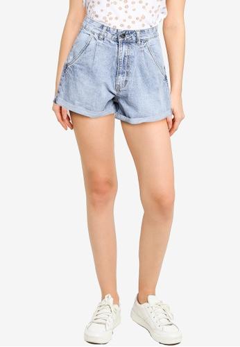 Supre blue Pleated Mom Denim Shorts 5A427AA9DFE28BGS_1