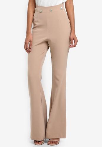Vesper beige Brylee Button Detail Wide Leg Trousers C4CA2AAB35874EGS_1