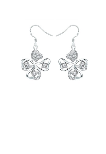 Glamorousky white Elegant Four-leafed Clover Earrings with Austrian Element Crystal C9B89ACFA8287AGS_1