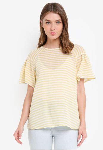 ESPRIT yellow Woven Short Sleeve Blouse E39A8AADF86484GS_1
