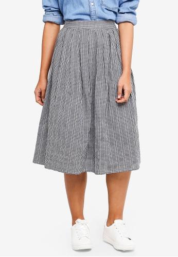 Something Borrowed black Pleated Midi Skirt DFFEEAA25BF2DFGS_1
