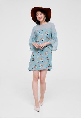 Love, Bonito green Kania Printed Dobby Dot Dress A2EF9AA4C7FB38GS_1