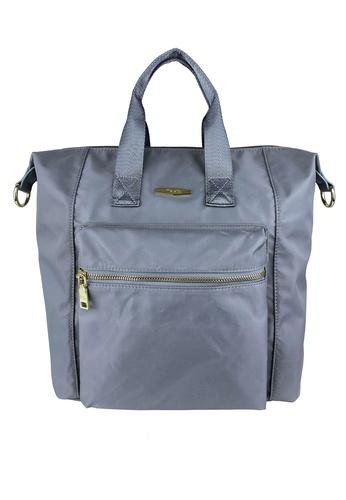 Mel&Co grey Nylon Satchel Bag 4ED48AC36C98EAGS_1
