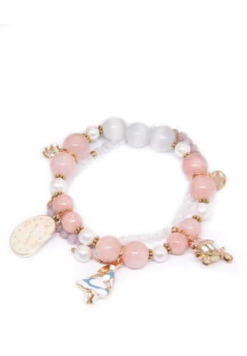 ASLLY pink and gold Alice's Mirror│Pink Beaded Bracelet E59E6ACC8B0DE0GS_1