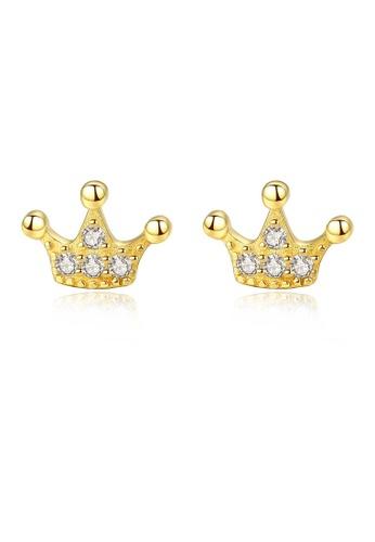 SUNRAIS gold High quality Silver S925 golden crown design earrings 5C698AC98D0962GS_1