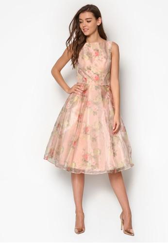 Amya 挖背印花無袖洋esprit 見工裝, 服飾, 洋裝