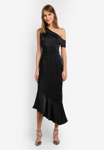 Lavish Alice black Satin One Shoulder Asymmetric Hem Dress LA457AA0SAN7MY_1