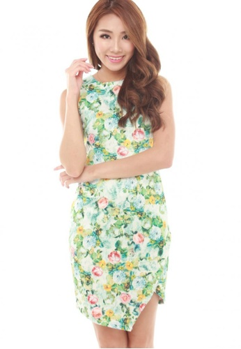 Sophialuv multi Caline Asymmetrical Slit Dress in Green Floral CF253AA9E030CAGS_1