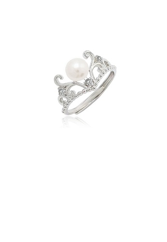 Glamorousky white 925 Sterling Silver Fashion Elegant Crown Freshwater Pearl Adjustable Ring with Cubic Zirconia 8678EAC112F18AGS_1