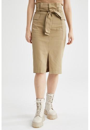 DeFacto green Paperbag Midi Skirt E8947AACA4B17BGS_1