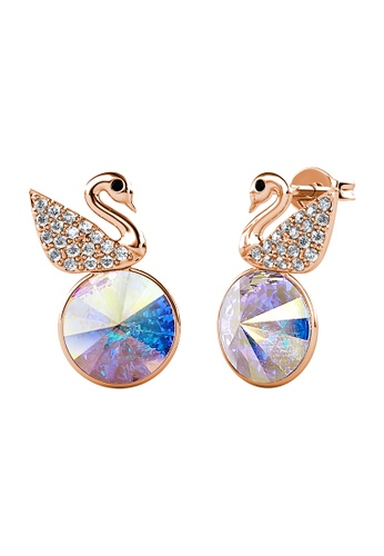 LOVE AND LIFE gold Love & Life Swan Crystal Earrings (AB - Rose Gold) embellished with Crystals from Swarovski 3AE3BAC66F811EGS_1