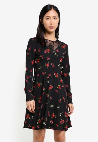 WAREHOUSE black Snowdrop Lace Yoke Dress WA653AA0SBZRMY_1