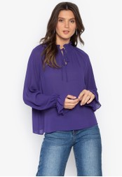 MARKS & SPENCER purple Funnel Neck Long Sleeve Blouse FD2D6AA8F0ACC6GS_1