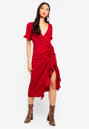 MISSGUIDED red Ruched Side Midi Dress 7F5E9AA51B4DBAGS_1