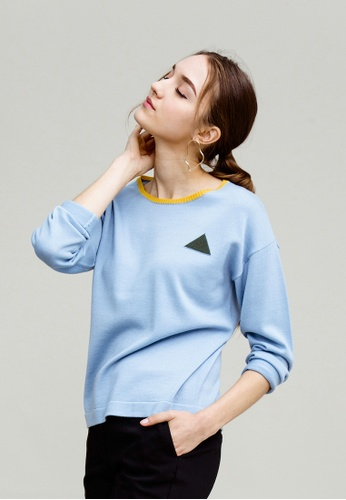 KLAPS blue Merino Sweater With Triangle Patterned 4F0BBAAED08D51GS_1