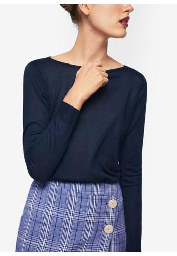 MANGO blue Back Vent Sweater 824B9AA9EB179AGS_1