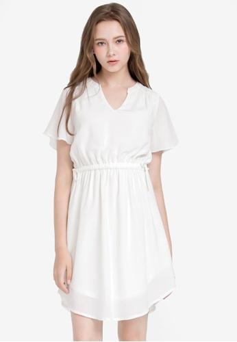 Kodz white Chiffon Dress CC4F4AAF2309DDGS_1