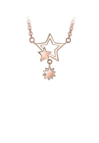Glamorousky silver 925 Rose Gold Plated Stars Pendant with White Cubic Zircon Necklace 9BB8FACE3F5C2AGS_1