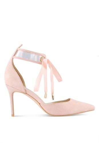 Velvet pink Satin Ankle Tie Dorsay Heels D1CBFZZ5EB40B3GS_1