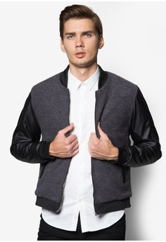 XM-Quilted Knit Bomber With PU Sleeve