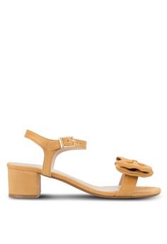 【ZALORA】 蝴蝶結飾露趾繞踝粗跟鞋