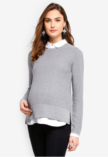 Seraphine grey Marianne Maternity Layered Nursing Jumper 98C9EAA2E9159BGS_1