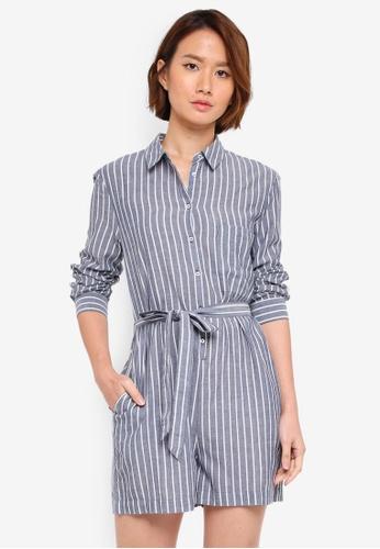 WAREHOUSE blue Stripe Shirt Playsuit FF5E6AAC4BF360GS_1