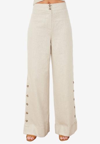 Trendyol beige Stone Wide Leg Pants FA19FAAB0C1DC8GS_1