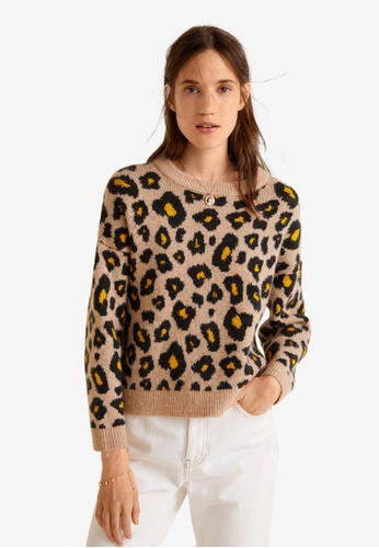 Mango brown and multi Leopard Print Sweater 4E74EAA940A7BBGS_1