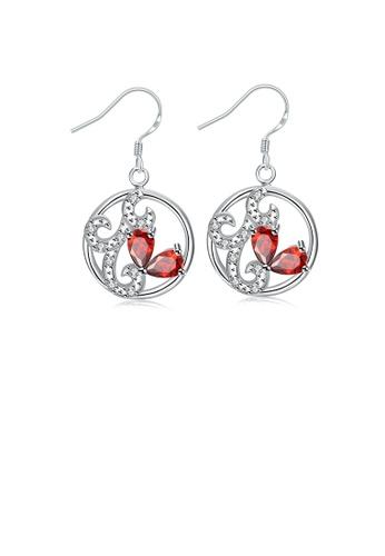 Glamorousky white Fashion Elegant Openwork Geometric Round Earrings with Red Cubic Zirconia 931FDAC43F5F38GS_1