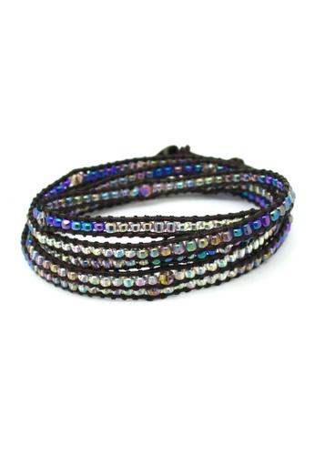 Fur Nyce purple Seed Bead Leather Wrap Bracelet FU779AC35XTCMY_1