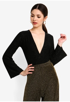 947df56d73d4 MISSGUIDED black Glitter Long Sleeved Wrap Front Body 932D5AA3490196GS_1