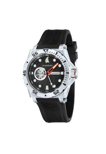 Spinnaker black Overboard Black Rubber Strap Watch SP641AC15LOAPH_1