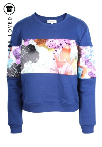 carven black Pre-Loved carven Navy Blue Sweater With Silk Flower Application C2E37AA634C58DGS_1