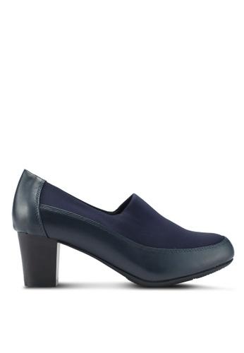 Bata 藍色 舒適拼接粗跟鞋 2B873SH0E38387GS_1