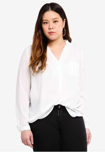 Only CARMAKOMA white Plus Size Solid LS Shirt 5DCAAAA087B8B2GS_1