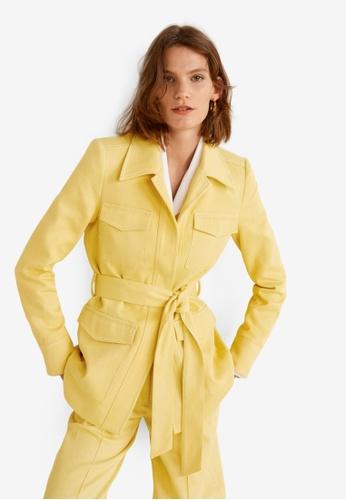 Mango yellow Pocketed Corduroy Blazer DF36EAAE7AFC92GS_1