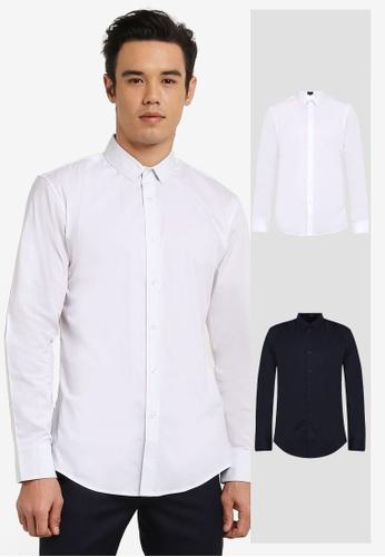 ZALORA white and navy 2 Pack Slim Fit Cotton Poplin Long Sleeve Shirt ZA819AA0RO0TMY_1