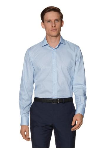 T.M. LEWIN blue T.M.Lewin Gyroscopic Print Slim Fit Blue Single Cuff Shirt 78374AAE68BCCCGS_1