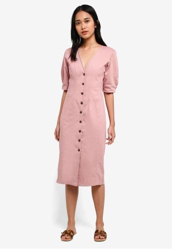 TOPSHOP pink Washed Twill Seam Midi Dress 3DEEEAA39EA5D2GS_1