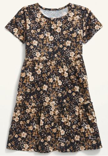 Old Navy black Girls Tiered Printed Short-Sleeve Dress F54B8KA38488B5GS_1