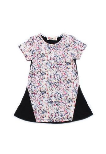 Mini Moley black Design Print Girl's Shift Dress FBC96KA7DD94A3GS_1