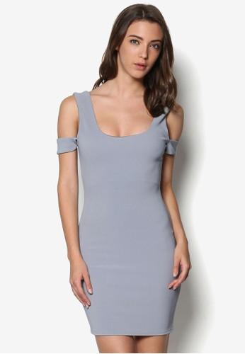 zalora時尚購物網的koumi koumi挖肩貼身迷你連身裙, 服飾, 服飾